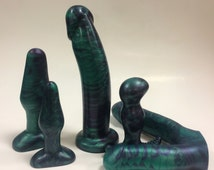 Emerald Green and Purple Marble Silicone Dildos and Butt Plugs