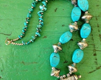 GOODBYE SUMMER SALE Vtg Morrocan Blue Stone Tribal Hippie Boho Festival Necklace