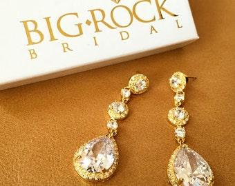 Rhinestone Earrings  - Gold Earrings - Teardrop Earrings