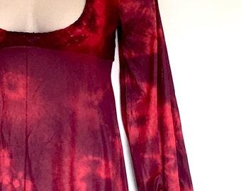 Gothic Blood Red Purple Black Lace Slip Maxi Dress Hand Tie Dye ~ Medium AU 10 - 12 US 8 - 10 ~  Gothic Wedding Vampire Zombie Rockabilly