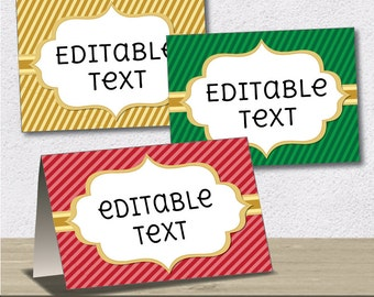Instant Download - Editable PDF Printable - Christmas / Xmas Label / Sticker / Tent Card / Tags - DIY - Red, Green, Gold