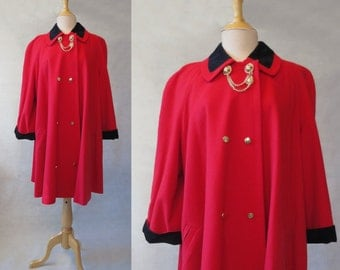 Red Coat with Black Velvet and Gold Military Trim