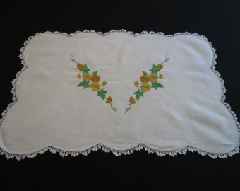 Hand Embroidered Runner or Table Centre
