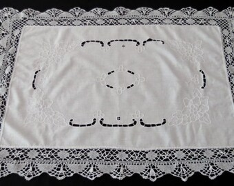 Whitework Embroidered Runner With Lace Edging