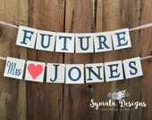 Future Mrs NAME banner - wedding shower sign - wedding shower banner - coral heart - navy letters - bride to be -scripted Mrs - IATY114