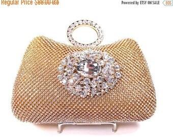 SALE SALE Gold Rhinestone Crystal Bridal Clutch, Wedding Purse, Evening Clutch