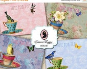 75% OFF SALE TIME For Tea Digital Collage Sheet Aceo atc Digital Scrapbooking Printables download