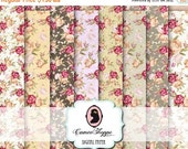 75% OFF SALE DIGITAL Paper Digital Collage Sheet set of 8 - 5x7 inches - Shabby Peonies No 01 Background Large Image Scrapbooking