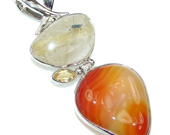 Carnelian, Citrine, Rutilated Quartz Sterling Silver Pendant - weight 17.00g - dim L- 2 1 2, W -1, T -5 8 inch - code 22-wrz-15-36