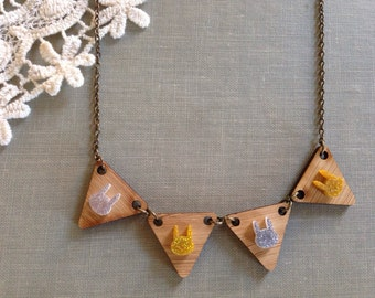 Wooden bunting bunny necklace