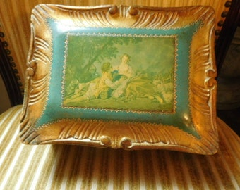 Vintage Italian Florentine Box with Feet Made in Italy