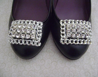 Vintage TipToe Big and Chunky Rhinestones Shoe Clips