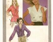 "A Button Front, V-Neckline, Tie Collar, Cap, Short or Long Sleeve Blouse Pattern for Women: Uncut - Size 14, Bust 36"" • Simplicity 9559"
