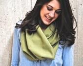 Green Linen Infinity loop scarf
