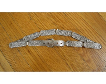 1980s Vintage Silver Tone Linked Belt with Buckle