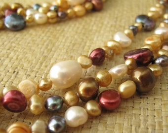 Multi Color Freshwater Pearl Necklace, Long Pearl Necklace, Multi Color Pearl long Necklace, 72 inches Long Pearl Necklace, Wedding Necklace