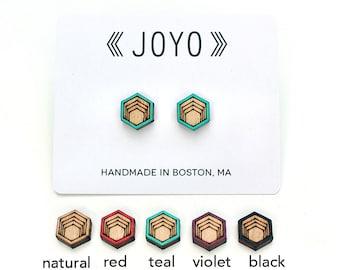 Wood Stud Earrings, Hexagon Stud Earrings, Wooden Stud Earrings, Simple Stud Earrings, wood post earrings, natural wood studs, modern studs