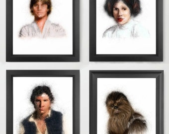 Luke Skywalker, Princess Leia, Han Solo, Chewbacca INSTANT DOWNLOADS - Set of 4 - Star Wars, father's day gift ideas, episodes, fan art