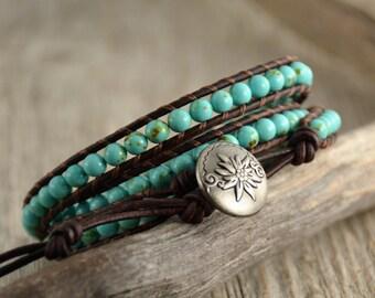 Turquoise beaded boho bracelet. Leather wrap bracelet