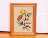 Flutter By...  Vintage Framed Floral Needlepoint Picture with Butterfly and Caterpillar in Autumn Colors - Teal, Golden Yellow, Rust, Beige