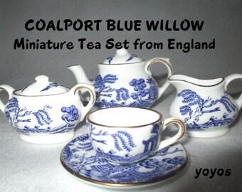 COALPORT BLUE WILLOW Tea Set Miniature Made in England Collectible Gift Item