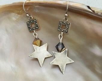 Sterling Star Beaded Earrings, Handmade