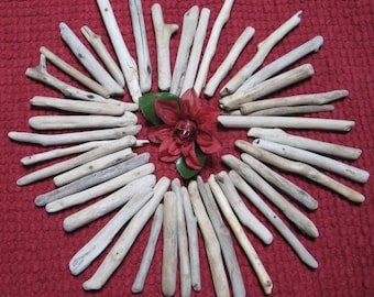"""50 Piece Driftwood, 5"""" to 8"""" Small Drift Wood, Craft Supplies, Garland, Beach Wedding Decor"""