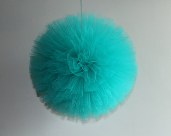 8 Inch Tulle Pom, Hand Sewn and Woven, Any Color, Party Decor, Nursery Decor, Wedding Decor, Baby Shower Decor, Baby Shower Gift