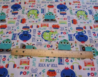 White Monster Rock N Roll Musical Cotton Fabric by the Yard