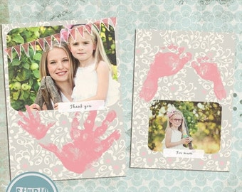 ON SALE INSTANT Download 5x7 Digital Photo Card Template - Birth Announcement or Multi Use New Baby  vol.1
