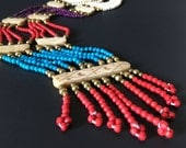 VINTAGE: Colorful Multi Strand Bone and Brass Necklace - Made in India - New Old Stock from 1970's