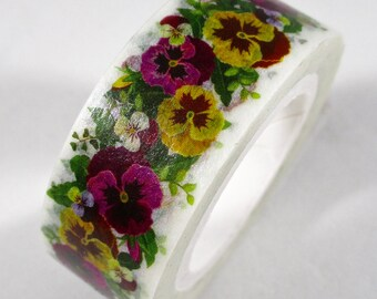 """SALE New Exclusive Print """"PANSIES"""" Floral Washi Tape.  15mm x 10 meters"""