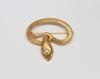 Victorian 14k Gold, Diamond, and Demantoid Garnet Serpent Brooch - OUTSTANDING