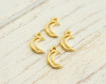 Gold Crescent Moon Charms -- 4 pieces -- Vintage Style Tierracast Pewter Celestial Pendants