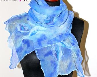 SALE !!! Handmade Merino Wool Felted Silk Chiffon Blue Scarf Wearable Art