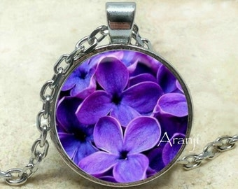 Lilac pendant, Lilac necklace, Lilac jewelry, Lilac, Lilac flower necklace, Purple flower pendant, lilac, Pendant #PL142P