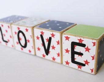 LOVE Wooden Blocks // Building Blocks // Baby Gift // Nursery Decor