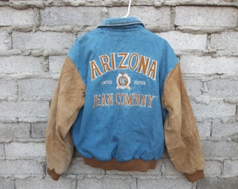 Vintage Jacket Denim Suede Arizona Jean Company Huge Logo Embroidered Patches sz fits Large Distressed Preppy Boho Collegiate Sports