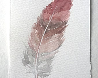 """Feather painting, Watercolor feather illustration, Dusty Rose Feather artwork, Feather wall Art, Small watercolours 7,5""""x 11""""/"""