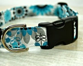 Floral Dog Collar - Blue, Teal, and Gray Dog Collar -  Large Collar - Small Collar - Fabric Dog Collars -  Boy Collars - Girl Dog Collars