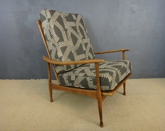 Mid Century Reupholstered Italian Lounge Chair