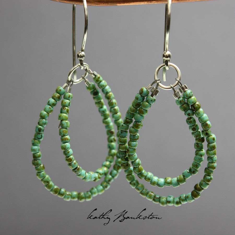 turquoise seed bead earrings seed bead earrings beaded