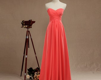 Coral Sweetheart Strapless Chiffon Bridesmaid Dress with Ruching,A-Line Crinkle Floor-length Empire Prom Dress,Princess Dress with Ruffle