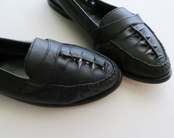 90s Cameos Black Leather Loafers Slip On Walking Shoes Ballet Flats Women US Size 9