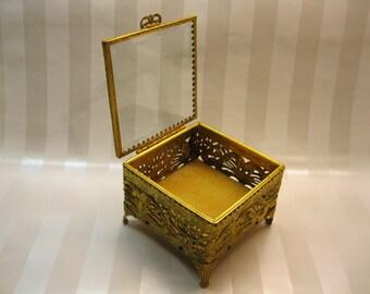 Gold Filigree Beveled Glass Top Casket Jewelry Box, Gold Velvet Lining,