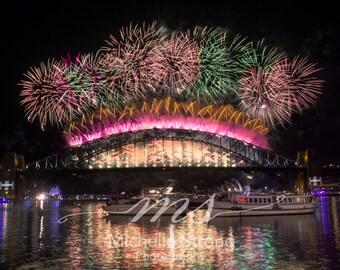 Firework Photography, Fine Art Photography, Landscape, Large Wall Art, Australian Photography, Home Decor, Sydney Harbor Bridge, New Year