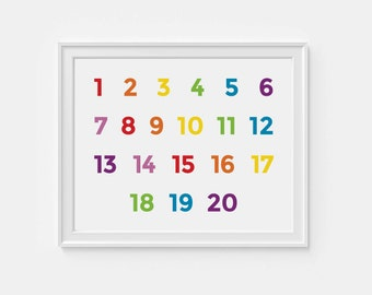 1-20 Number wall art - printable nursery art -  educational poster - 8x10 digital download