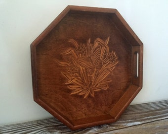 Vintage Wood Butterfly Carved Serving Tray