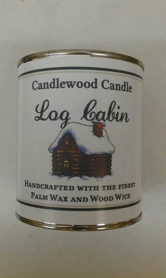 LOG CABIN  - Authentic Cedar Log Cabin  Wood Wick Candle - 16 oz.