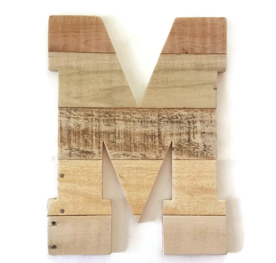 Letter m large rustic wall decor wood letter rustic home - Wood letter wall decor ...
